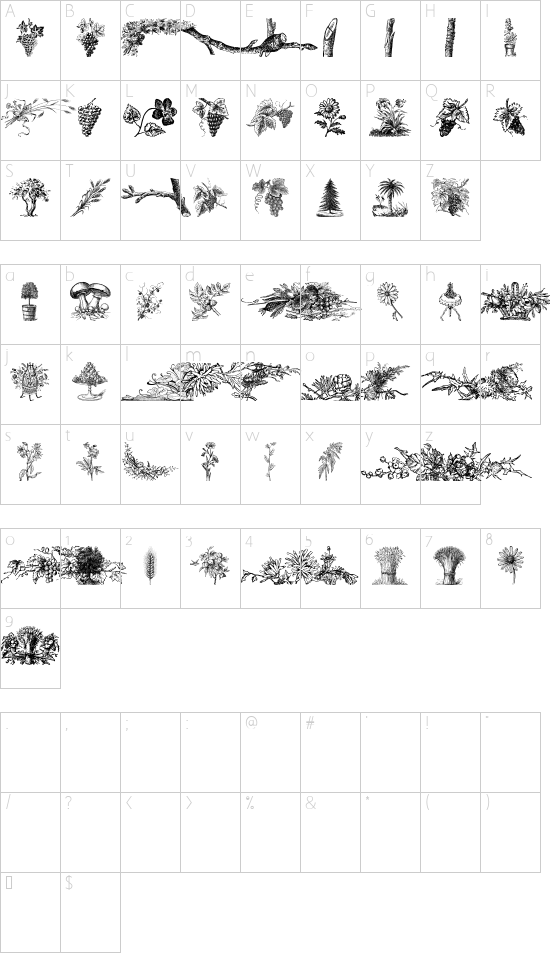 Vegetable Breathe Free font character map