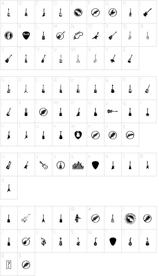 Electric Guitar Icons font character map