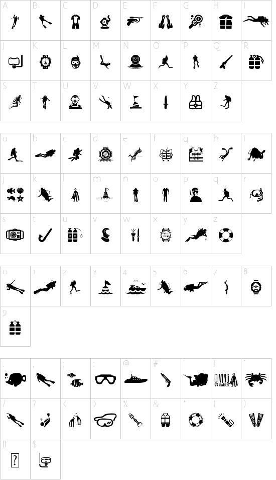 Diving font character map