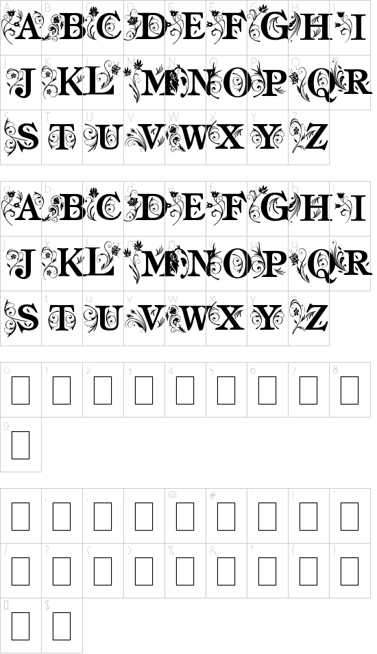 am_intex font character map
