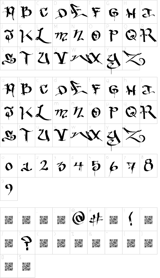 BakedTrains font character map