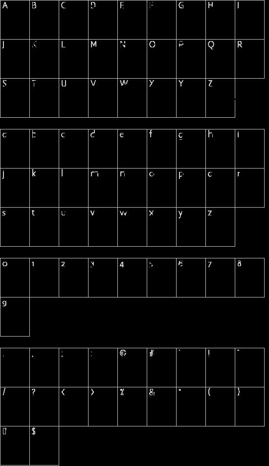 Smasher 312 Custom font character map