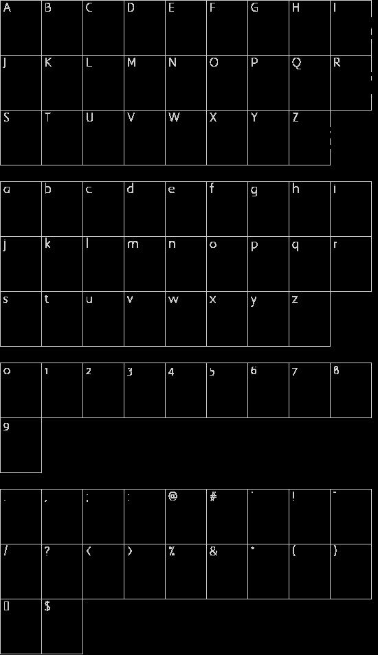 Bamf Italic font character map