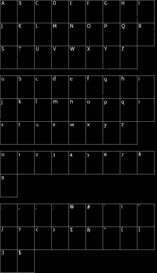 Mustang font character map