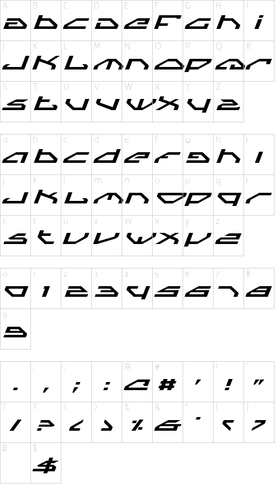 Spylord Expanded Italic font character map