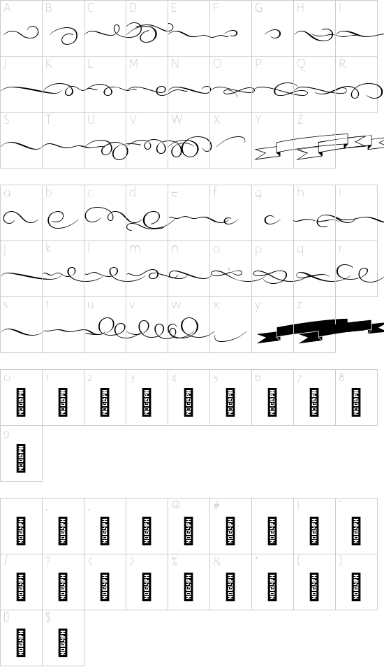 VL PretAPorterContrast Ornament font character map