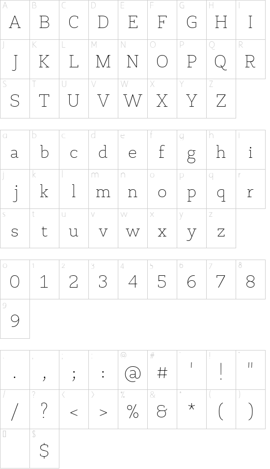 VL PretAPorterSlab Light font character map