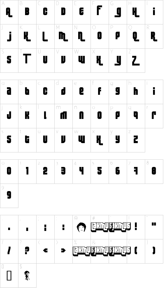 Lakmus font character map