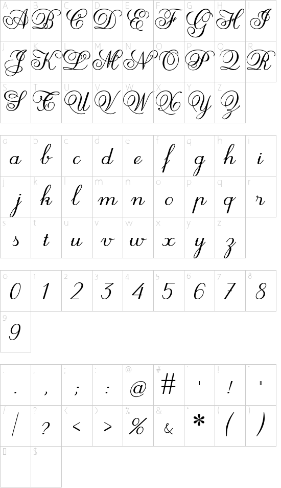 HP001 Kieu 5H font character map