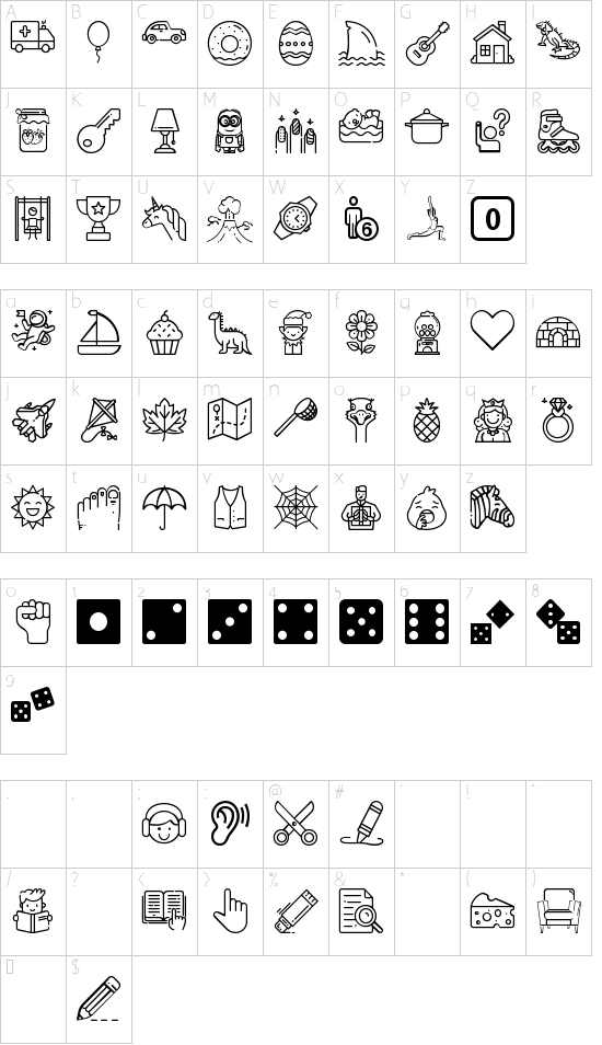 Phonics-Bats-by-Phontz font character map
