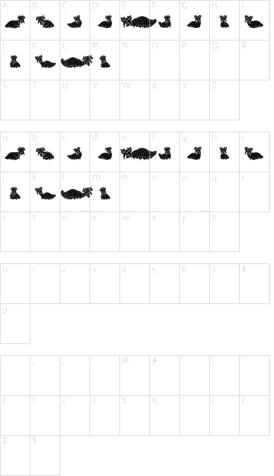 Wurm Regular font character map