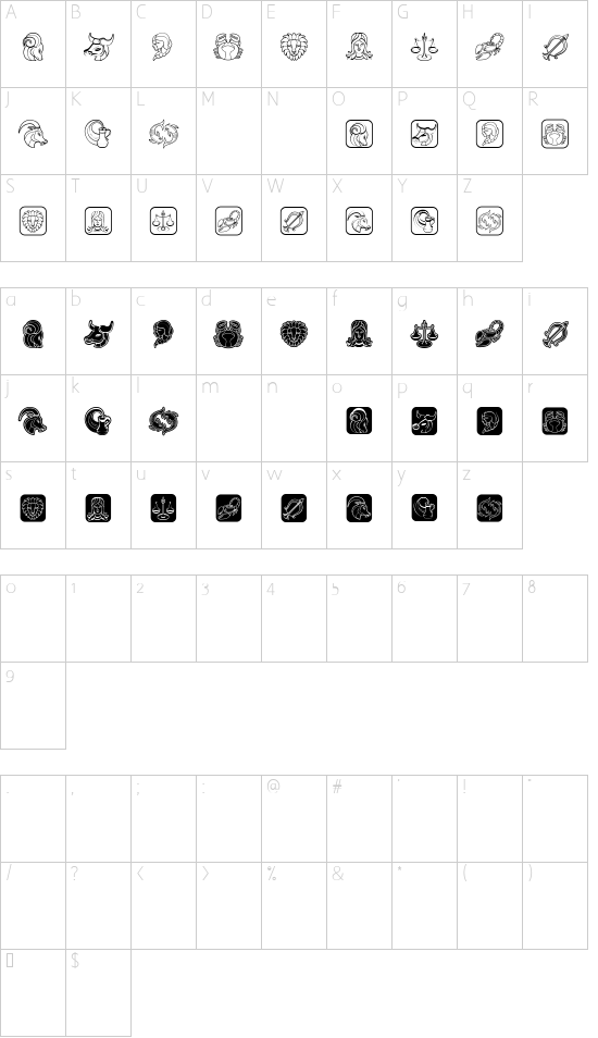 Zodiac Signs Regular font character map