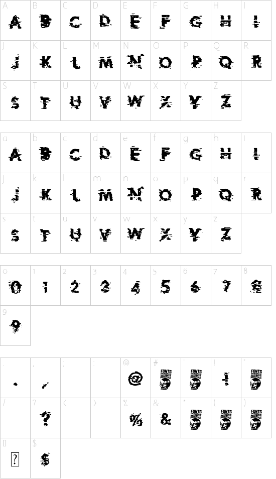 Extreme Glitch font character map