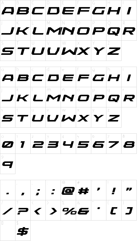 Neutron Dance Expanded Italic font character map