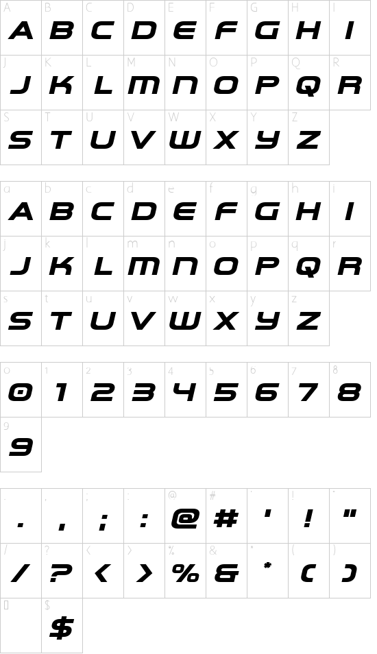 Omega Flight Expanded Italic font character map