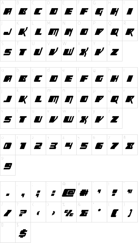 Space Runner Super-Italic font character map