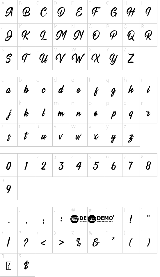 Quillain font character map