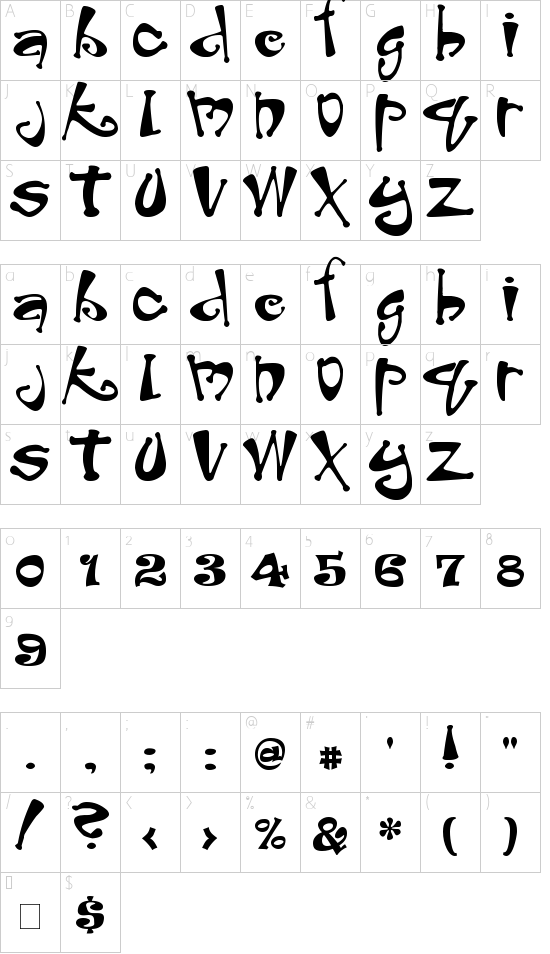 Peabody font character map
