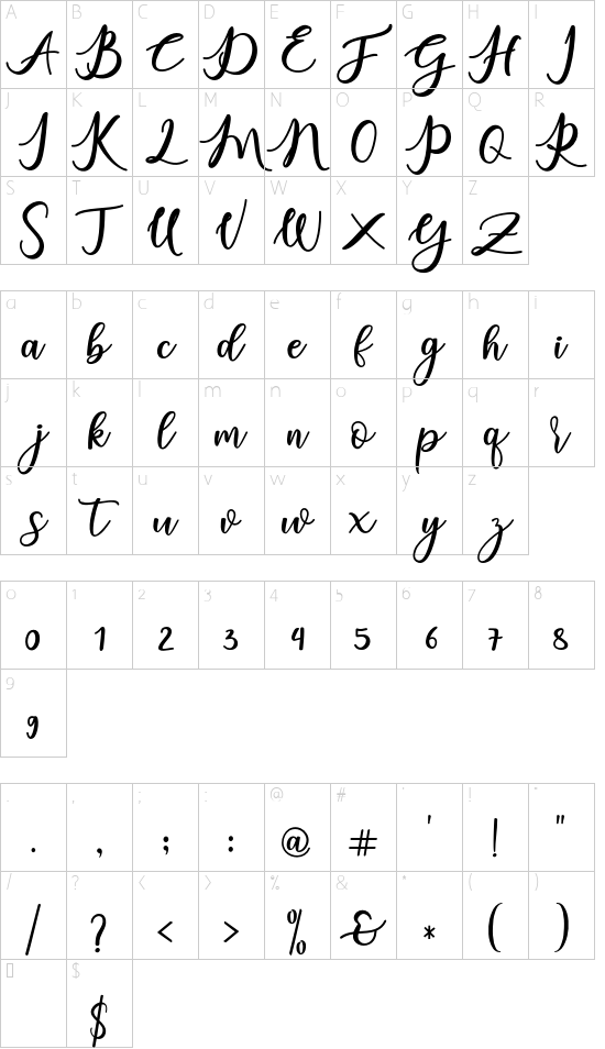 charlinda Regular font character map