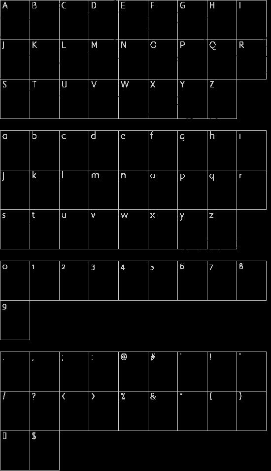Elizabeth font character map