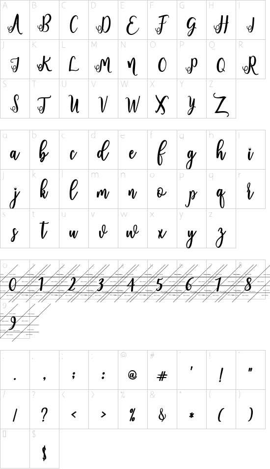 fadilla demo Regular font character map