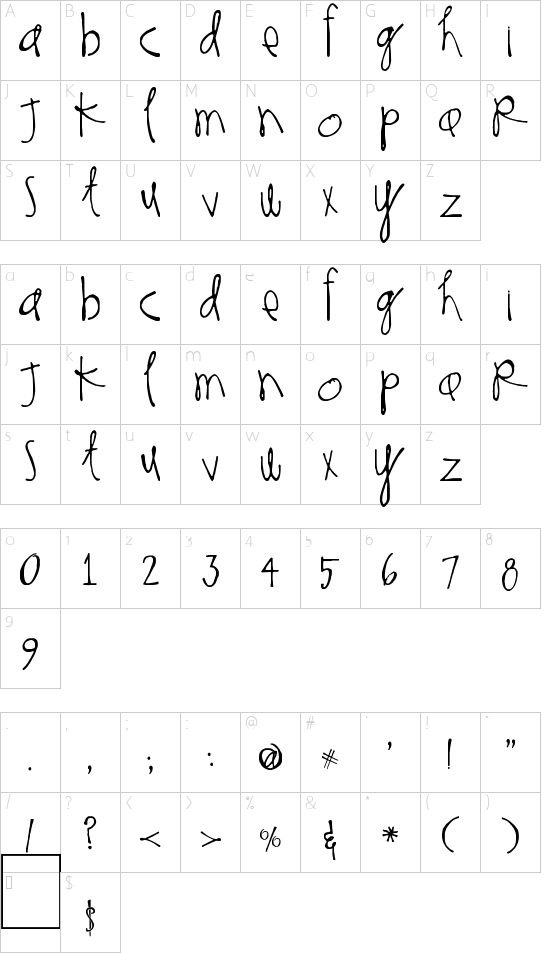 Thinking of You font character map