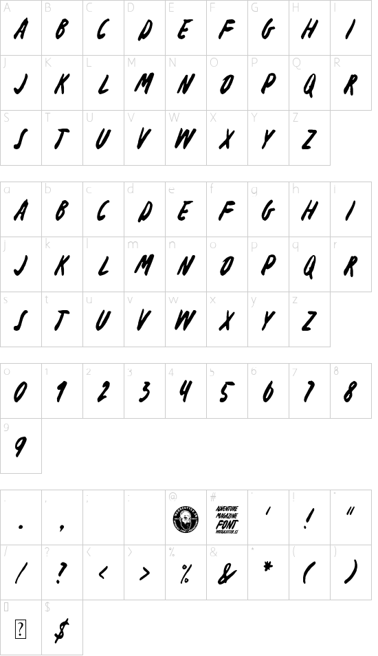 Adventure Magazine font character map