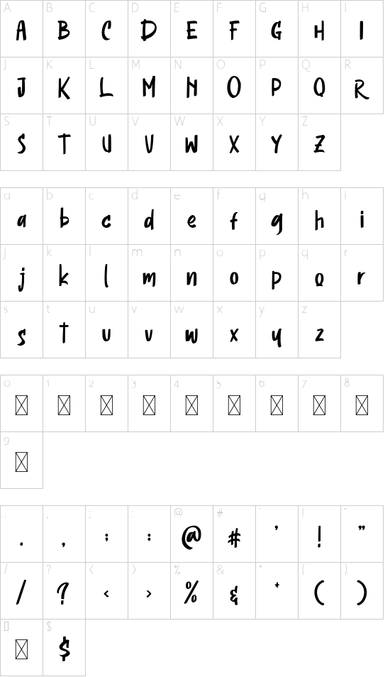 Headson font character map
