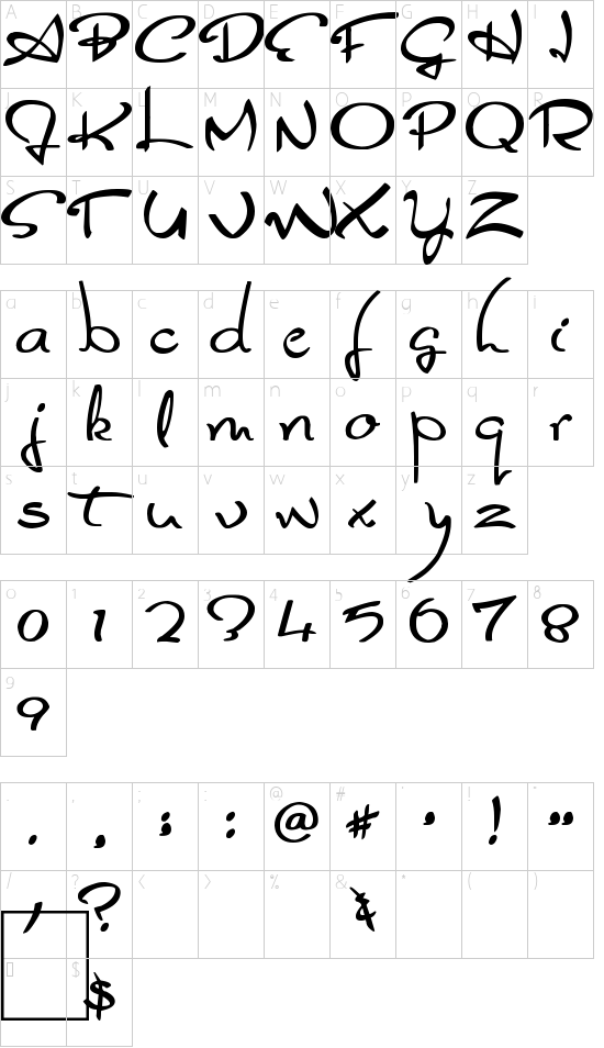 Glider Girls font character map