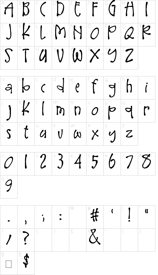 Larger Mime font character map