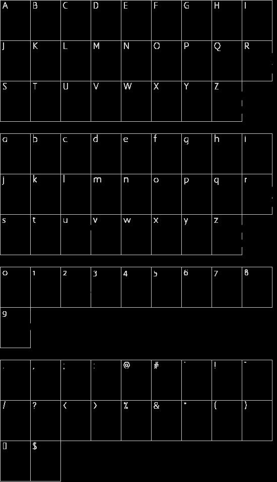 NewWGL4Font font character map