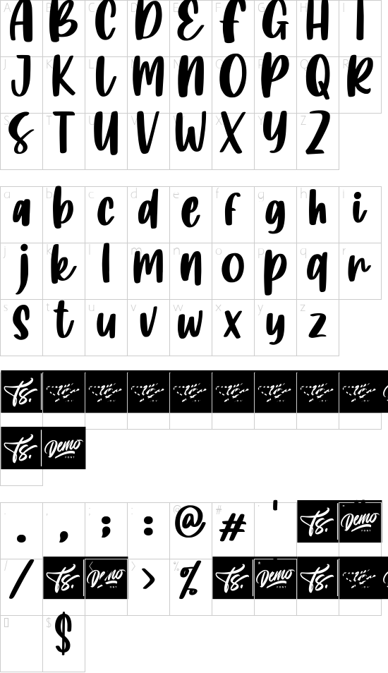 Island Namina font character map